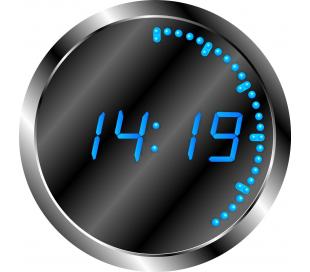 Horloge de studio a affichage led bleu ronde
